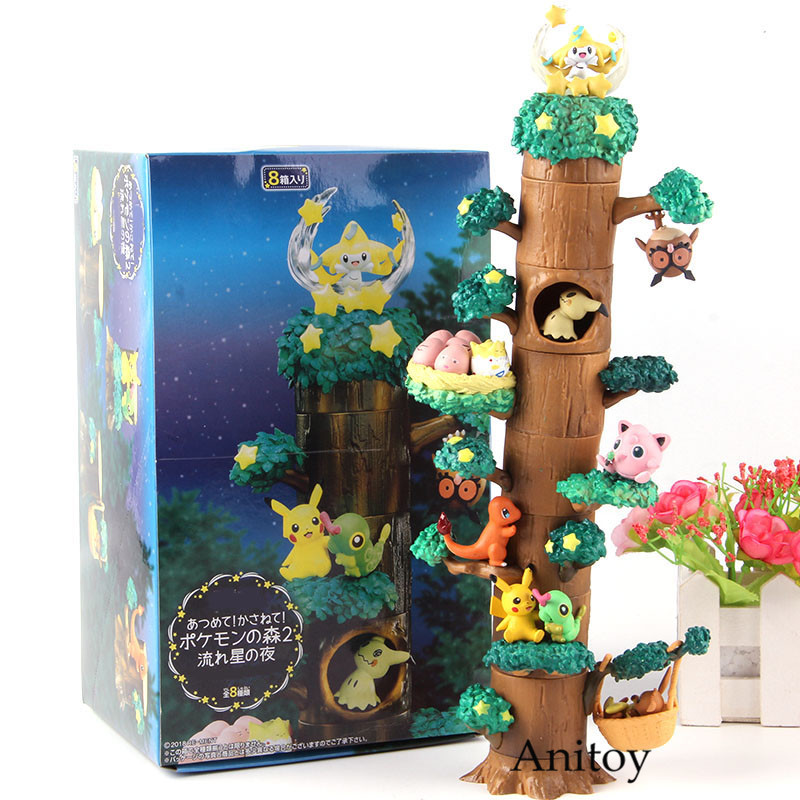 Charizard Eevee Wooden Pile Tree Stump Action Figure Collection Model Toy 8pcs/set