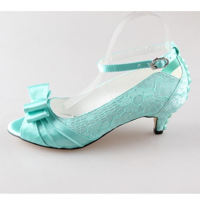 Creativesugar Handmade mint green lace satin pearl bow open toe ...