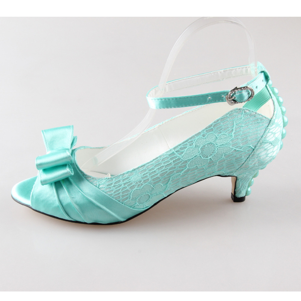 Handmade mint green lace pearl with bowknot bow open peep toe bow bridal wedding party evening dress shoes low heel ankle strap