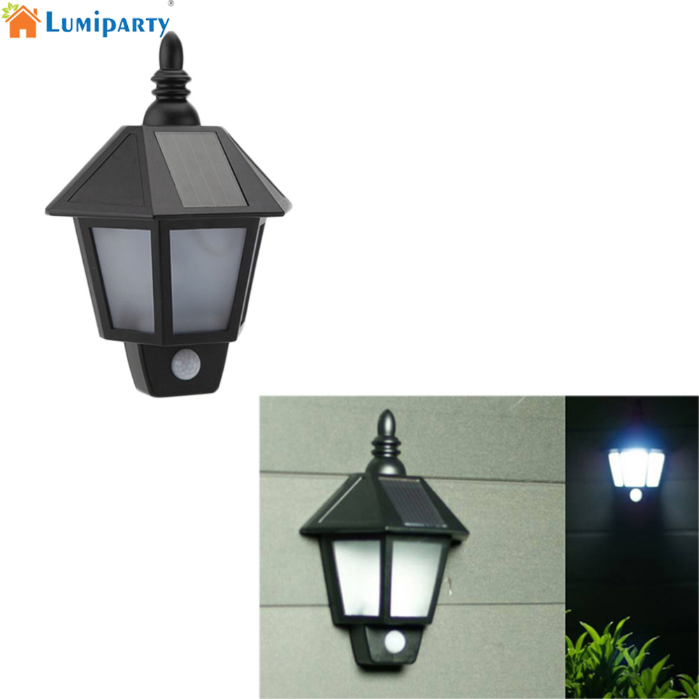 Lumiparty PIR Infrared Body Motion & Light Sensor Solar Power Panel Outdoor LED Wall Yard Garden Light Lamp ON/OFF button 12 led body sensor solar power light