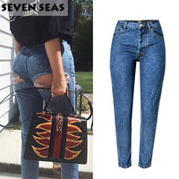 Sexy Bottom Ripped Jeans Blue Easy Boyfriend Jeans For Women High Waisted Jeans Femme Baggy Loose