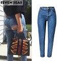 Inferior Sexy Jeans Rasgado Azul Fácil Boyfriend Jeans para As Mulheres De Cintura Alta Calça Jeans Femme Baggy Solto Denim Calças