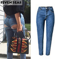 Sexy Bottom Ripped Jeans Blue Easy Boyfriend Jeans for Women High Waisted Jeans Femme Baggy Loose Denim Pants