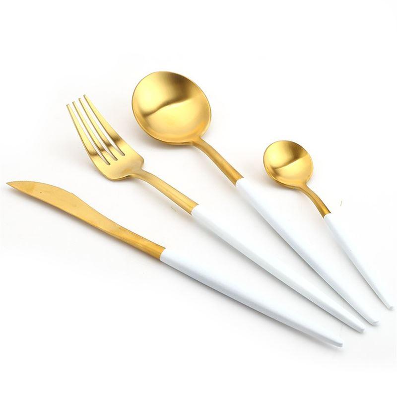 Top-grade 304 Stainless Steel Dinnerware Set,Cutlery Set 4 Pieces Black Knife Fork Set white Tableware Creative Dinner Set