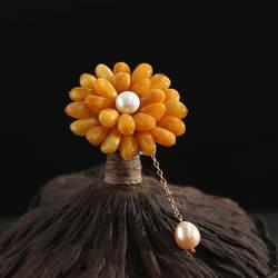 Amxiu индивидуальные ручной работы натуральный пчелиный воск цветок Форма брошь для Для женщин серебро 925 природный жемчуг брошь подвеска