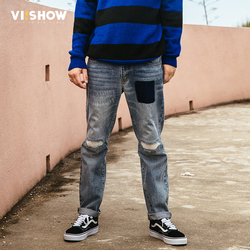 VIISHOW New Brand 2017 Top Quality Long Trousers Jeans Men Cotton Clothing Slim Straight Jeans Males Causal Hole Pants NC1707173