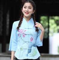 Spring Summer New Ladies Cotton Linen Blouse Chinese Women Print Flower Shirt Vintage Button Clothing S