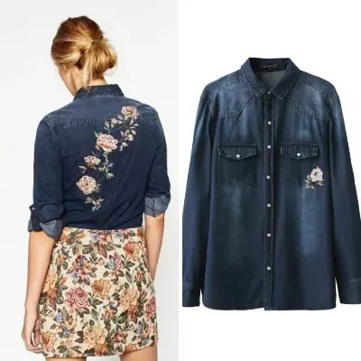 2017 Za Women Foral Embroideried Denim Blouses Pearl Button Flower Shirt Cotton Womens Camisa Loose Blusas