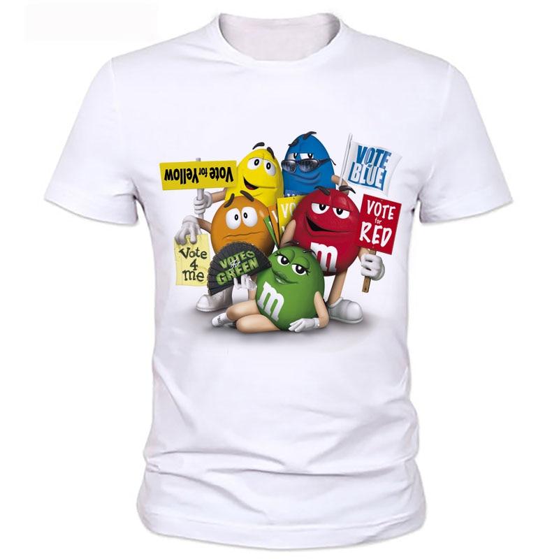 Mannen trycksatt t-tröjor Den nya tecknadmanskjutan choklad m & ms - Herrkläder