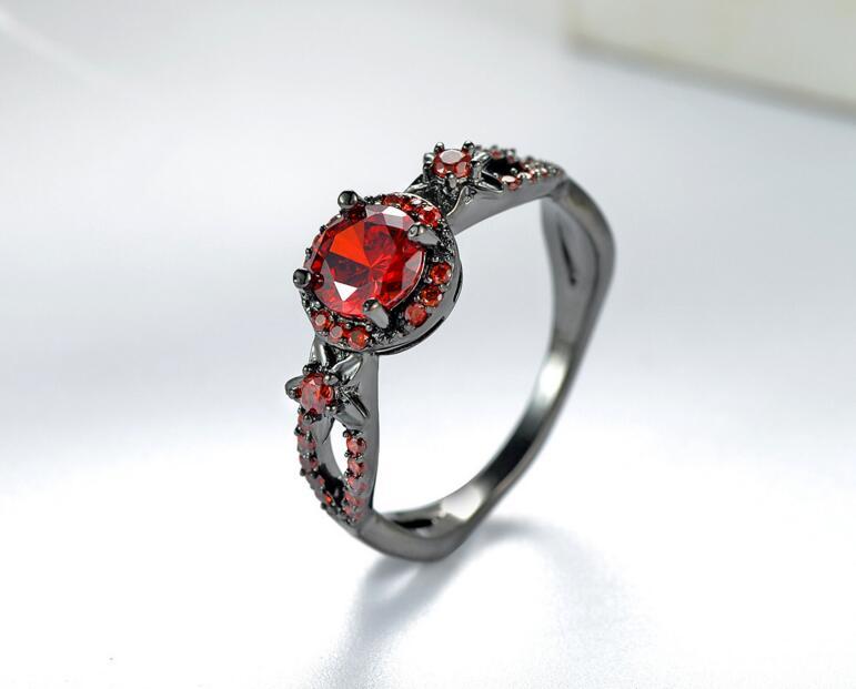 Новая мода Цветок Блестящий красный кольцо красный гранат Для женщин очаровательные Обручение Jewelry черное золото заполненные обещание Кол...