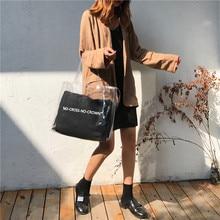 Women Handbag 2 in 1 Transparent Package PVC Casual Girls Clear Tote Shoulder Bag Fashion Messenger New