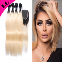 Ombre Brazilian Hair 1b 613 With Frontal Closure And Bundles Ombre Brazilian Virgin Hair Weave Lace Frontal Closure With Bundles