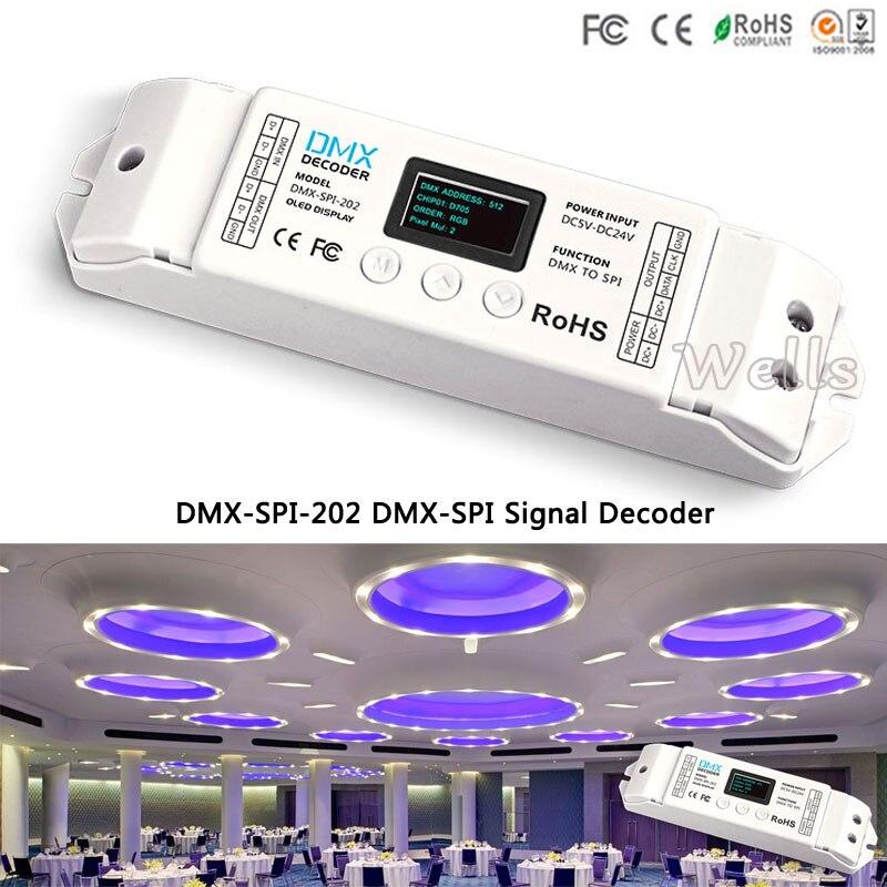 DMX-SPI-202 led de contrôle WS2811/WS2812/WS2812B/TM1804/WS2801/LPD6803/LPD8806/1903 décodeur DMX à SPI pour ruban à bande led