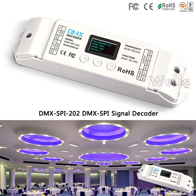 DMX-SPI-202 led controller WS2811/WS2812/WS2812B/TM1804/WS2801/LPD6803/LPD8806/1903 DMX TO SPI Decoder for led strip tape Ribbon цена