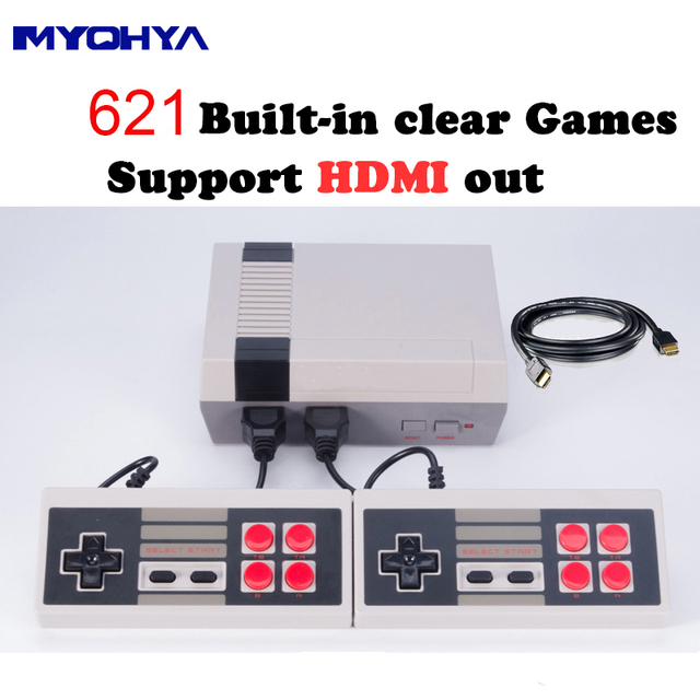 Myohya Mini HDMI Output Retro Classic Video Game Console Built-in 621 Games 8 Bit Family TV handheld game player Double Gamepads