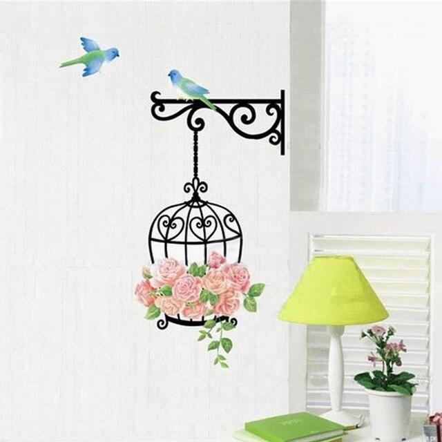 US $2.46 45% di SCONTO|Fiore della rosa uccello adesivo sticker home decor  vinyl rimovibile mural sticker adesivi murali camera da letto stencil per  ...