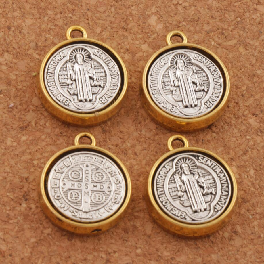 20.2x17mm Saint St Benedict Medal Cross Spacer Charm Beads 5PCS Antique Silver And Gold Pendants L1694