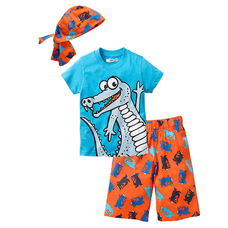 Children clothes 2018 New summer beach style cartoon casual Kids sport suit 3 Pieces hat T shirt pants baby boys clothing set new style summer baby boys girls clothes t shirt pants cotton suit children set kids clothing bebe next infant clothing