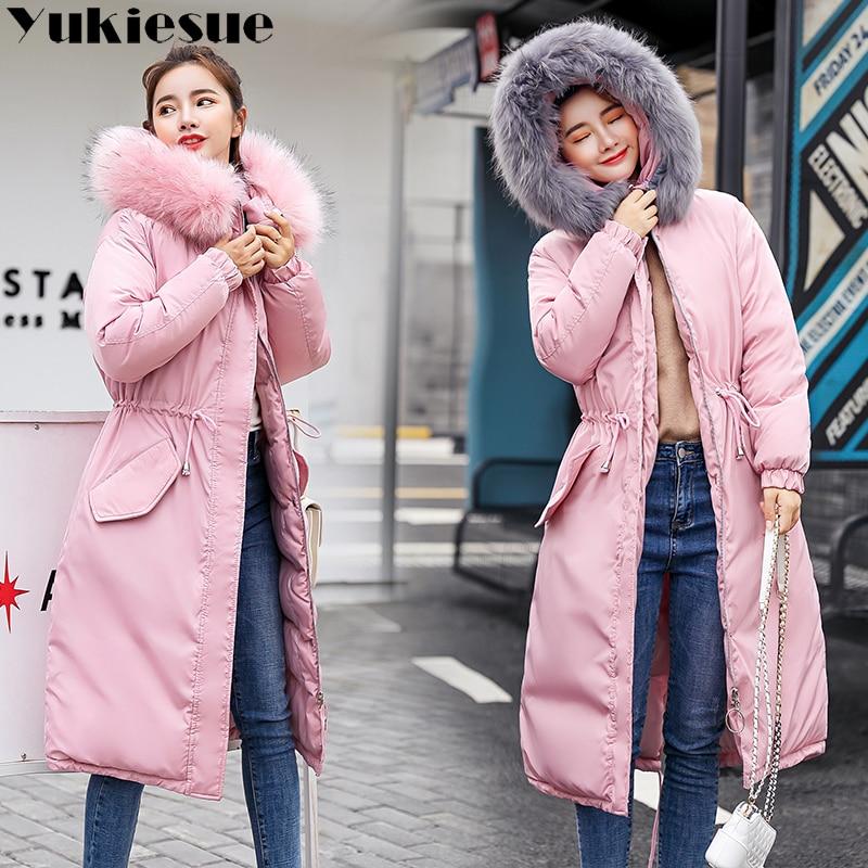 Lungo caldo di spessore giacca femminile di inverno del rivestimento caldo delle donne del rivestimento di inverno delle donne wadded giù outwear chaqueta mujer cappotto parka