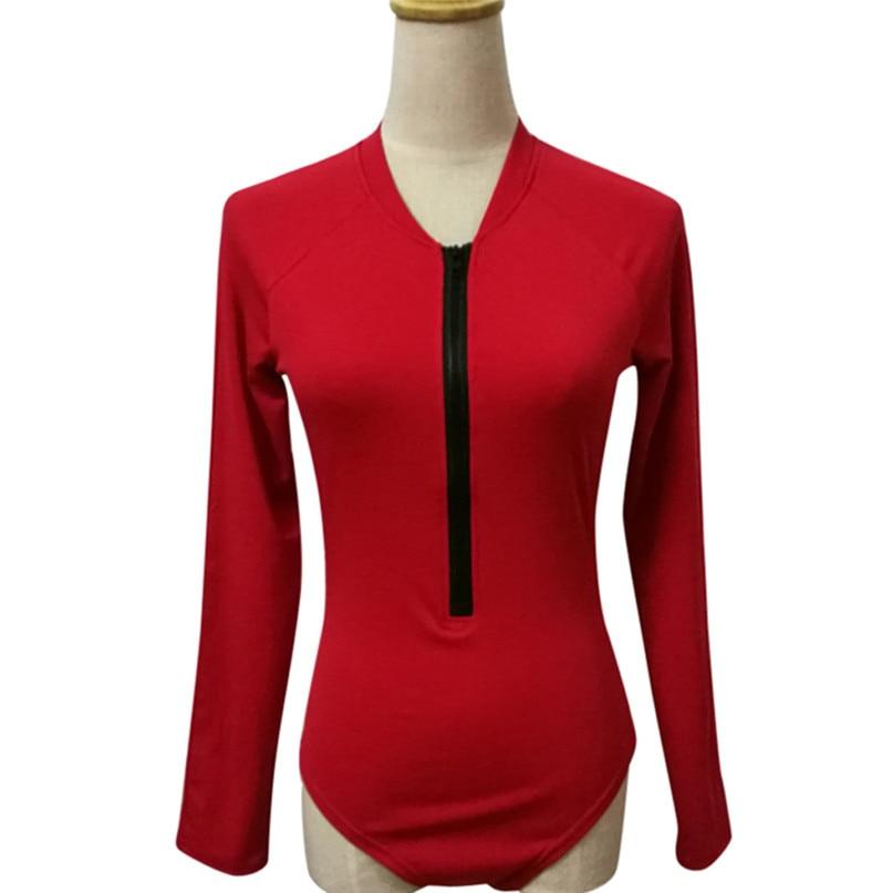 Women Surfing & Beach T-shirts Open Back V-neck zipper Swimsuits Ladies Beach Water Sports Sexy Long sleeve Vest jumpsuit  (7)