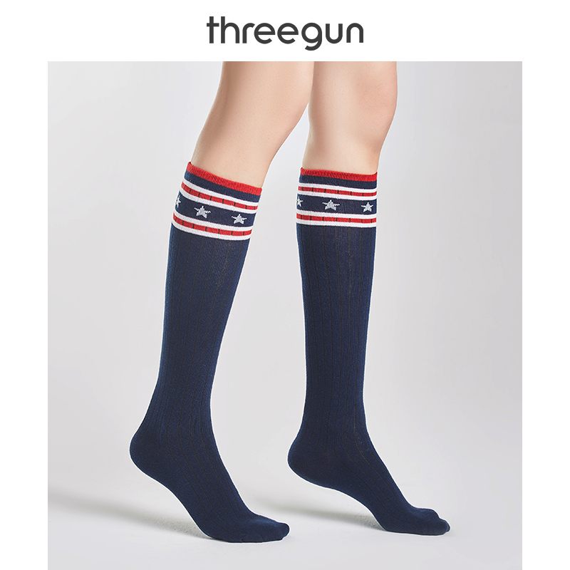 THREEGUN 2 Pairs Women Long Socks Cotton Striped Sports Thigh High Socks Soft Stretch Knee Socks Breathable Comfortable Leg Sock