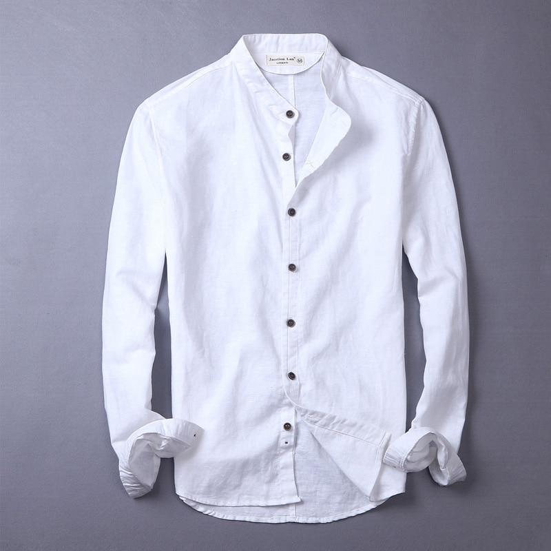 Brand casual men shirt linen cotton shirts men summer business shirt mens long-sleeved solid slim shirts male chemise camisa