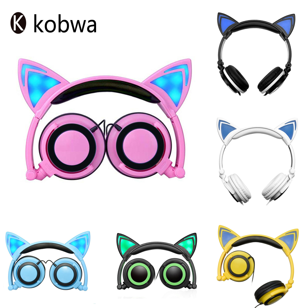 Hot Stylish Gaming Headset Flashing Foldable Glowing Wired With LED Light Cat Ear Children Headphones For