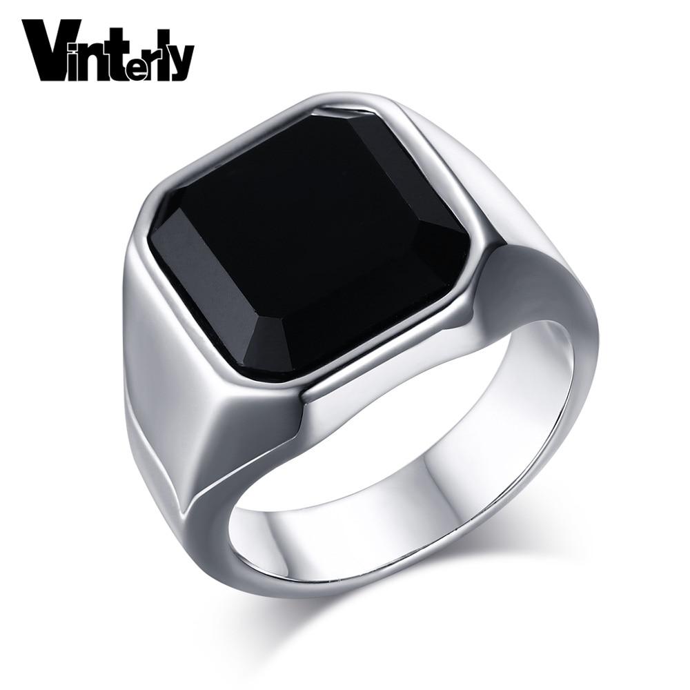 596508369529 Vinterly negro cristal grande anillo de compromiso de acero inoxidable para  la joyería de moda masculina