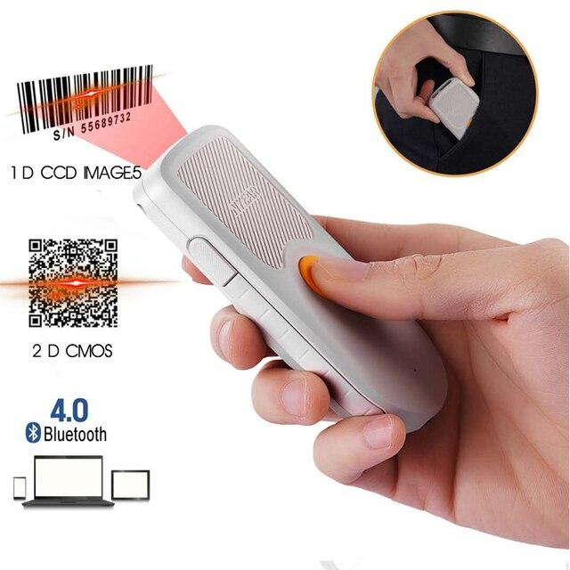 1D 2D QR Barcode Scanner Portátil Mini Bluetooth 4.0 Leitor de Código de Barras Trabalhar com Telefones, Tablet, PC com interface do Tipo C