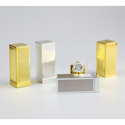 free shipping 12.1mm square golden/silver striated  high-grade lipstick tube, cuboid empty Lip balm container цена и фото