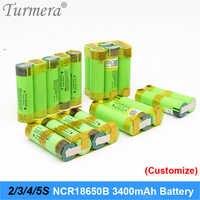 Turmera 18650 batería 3400mah ncr18650b 12,6 v 16,8 v 21v batería para destornillador soldadura tira de soldadura personalizar la batería