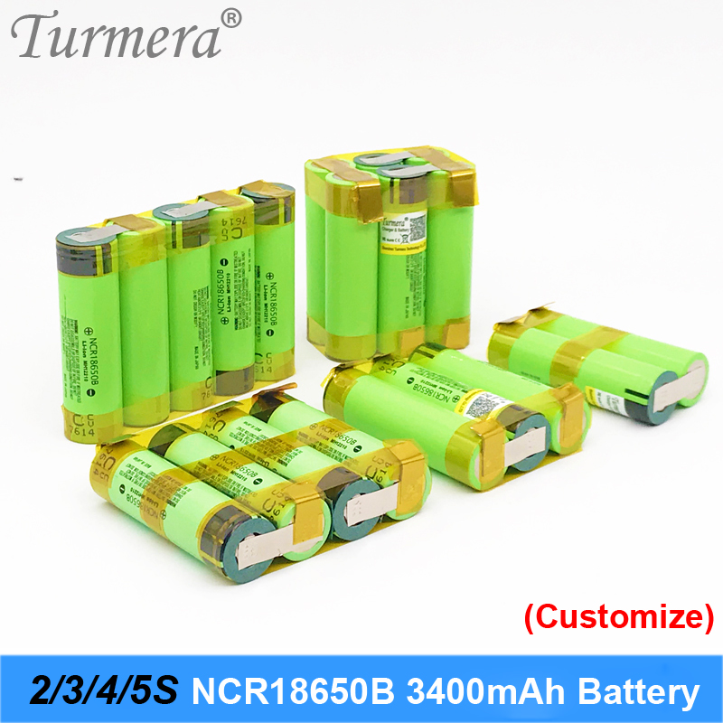 Turmera 18650 Battery 3400mah Ncr18650b 12.6v 16.8v 21v Battery For Screwdriver Battery Weld Soldering Strip Customize Battery