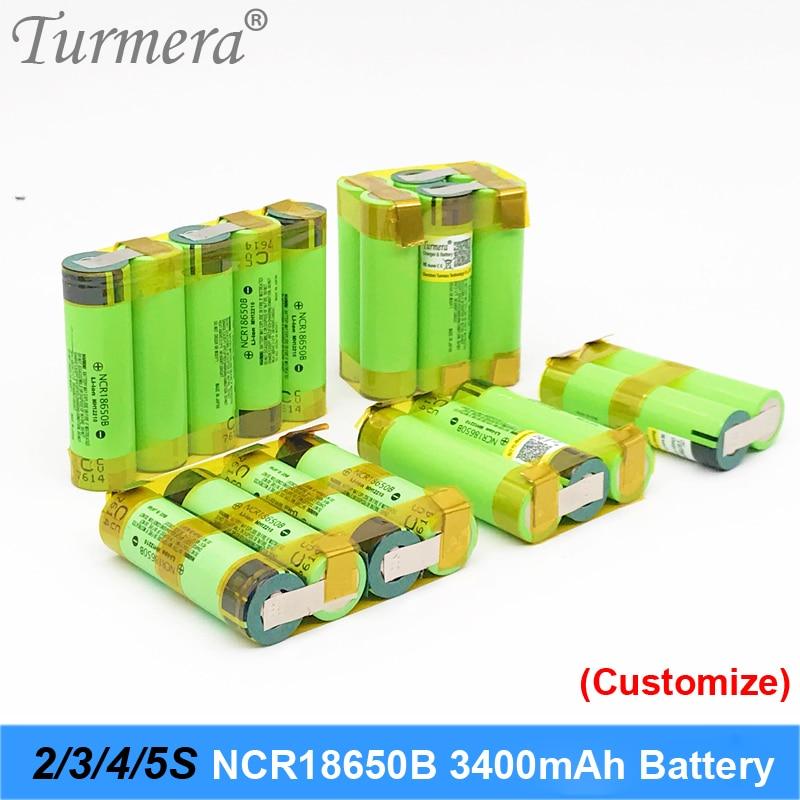 Turmera 18650 bateria 3400 mah ncr18650b 12.6 v 16.8 v 21 v bateria para chave de fenda da bateria solda de solda tira personalizar bateria