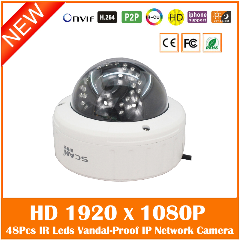 Hd 1080p An-vandal Dome Ip Camera Onvif P2p Ir Cut Filter Surveillance Security Cctv Webcam Night Vision Freeshipping Hot cctv cam ip camera 1080p hd outdoor waterproof pt onvif surveillance inspection dome security camera ir led