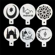 Aomily 6 pçs/set eid mubarak cupcake bolo estênceis ramadan decoração islâmica férias estênceis de café gadgets bolo ferramentas de cozimento