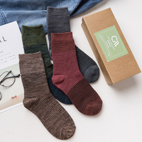 4 Pairs Gift Set 2017 Autumn And Winter Men S Socks Thin Stripes Male 100 Cotton