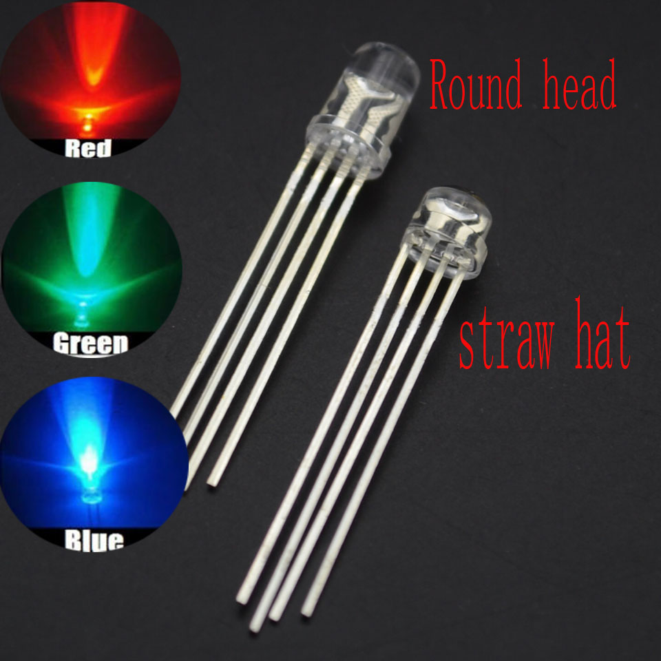 100PCS X 4Pin 5mm Straw Hat Common Anode diffused RGB LED Light Red//Green//Blue