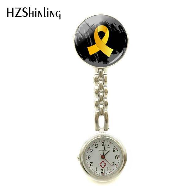 b3c054b98fd 2018 New Childhood Cancer Awareness Nurse Watch Gold Ribbon Watch Nurses  Silver Glass Art Jewelry Nurse
