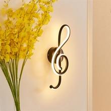 Designer Wall Lamps Modern Led Music Symbol Wall Lights Bedroom Bedside Corridor Living Room Lighting Decoration Sconce Lighting недорого