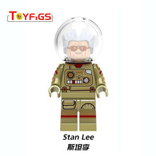 legoingly Father of Marvels Stan Lee Super Heroes wasp iron man Captain Marvel Building Blocks Toys Figures for Children(China)