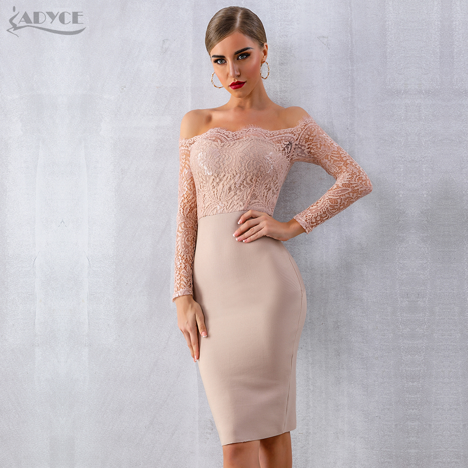 Summer Women Bandage Dress Vestidos Verano 2018 Sexy Long Sleeve Slash Neck Bodycon Lace Club Dress Celebrity Party Dress