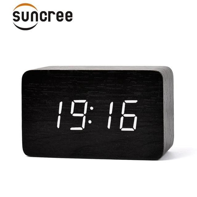 suncree design moderne en bois led numerique reveil bureau multi fonction temperature bois led
