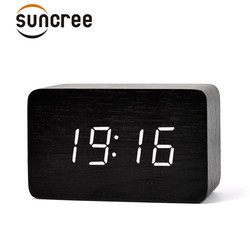Suncree diseño moderno madera LED Digital despertador, escritorio de temperatura multifunción madera LED reloj Digital