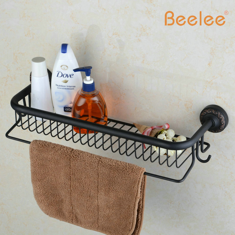 Beelee BL6733B Oil Rubbed Bronze Storage Holder Wall Mount Bath Shelf With Towel Bar Dua ...