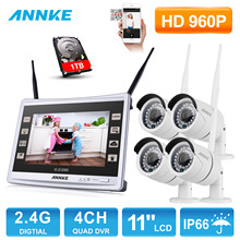 ANNKE 4CH 960P Wireless 11″ Monitor NVR Outdoor IR Night Vision Video Surveillance Security 4pcs WIFI IP Camera CCTV System