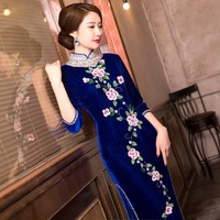 New Arrival Top Grade Handcrafte Embroider Beads Sequined Women S Velour Long Cheong Sam Dress S