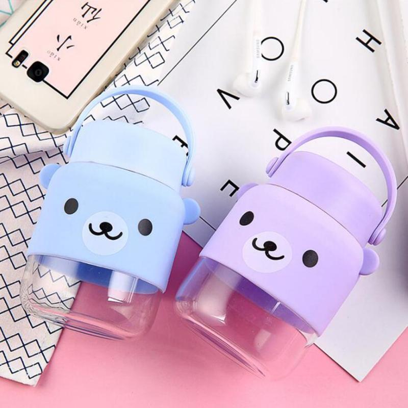 280ml Leak Proof Water Bottle Safety children women glass bottle for Travel School Using BPA free Cartoon Candy color Bear 3