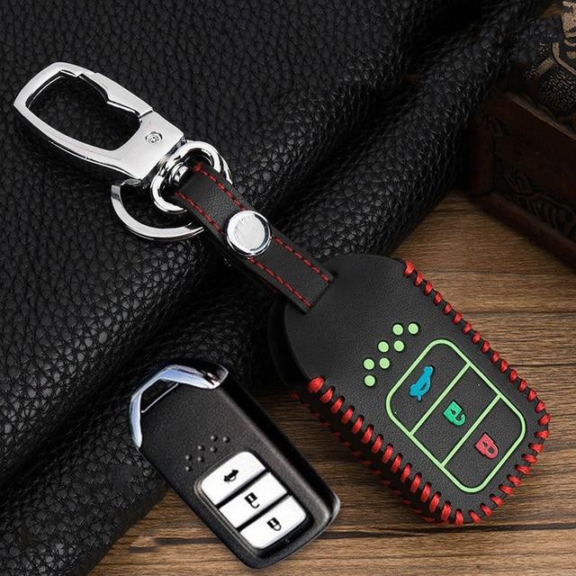 اليد الخياطة مضيئة الجلود الذكية مفتاح السيارة غطاء وقائي لهوندا سيفيك أكورد EX EXL Crv Crz Hrv شل اكسسوارات