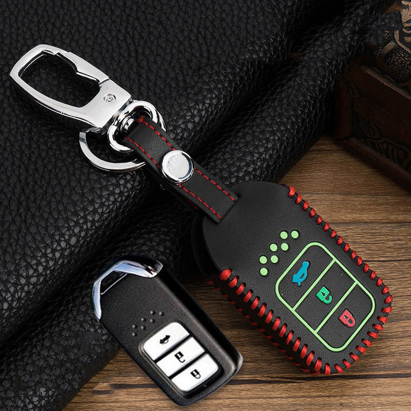 Hand sewing Luminous Leather Smart  Car Key Protect Cover Case For Honda Civic Accord EX EXL Crv Crz Hrv Shell Accessories-in Key Case for Car from Automobiles & Motorcycles