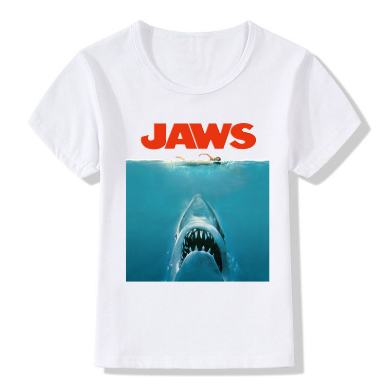 Boys and Girls Print Jaws Movie Fashion T-shirt Children Summer Casual T shirt Kids Tops Tees Baby Clothes,HKP712 fashion baby girl t shirt set cotton heart print shirt hole denim cropped trousers casual polka dot children clothing set